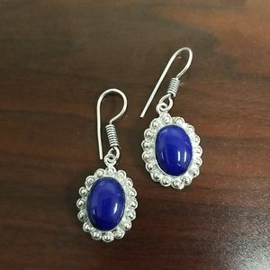 Silver and natural blue stone earrings